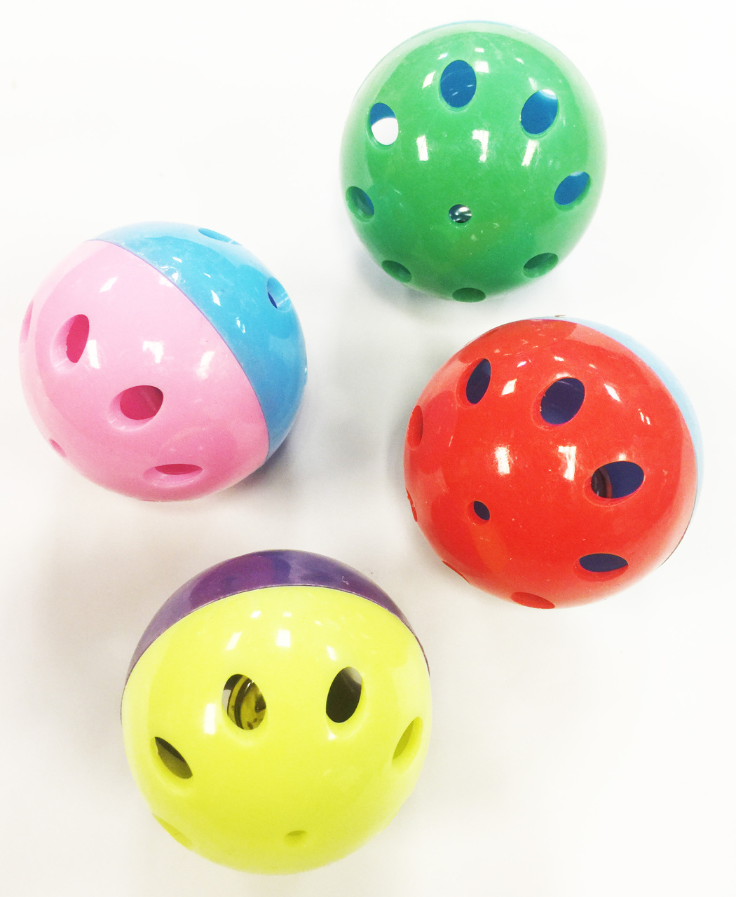 6 LUX BALL FOOT TOYS WITH BELL INSIDE.